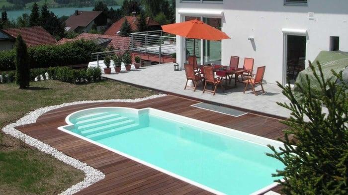 einst ckbecken mit r mertreppe modell korsika schwimmbecken von polyfaser pools pooldach. Black Bedroom Furniture Sets. Home Design Ideas